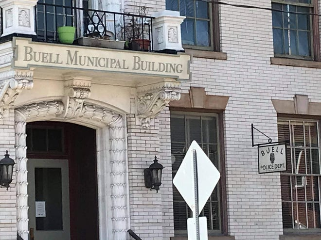 """New signs for the fictional Buell, Pa., hang from the former police station of Ambridge.  new jeff daniels series """"American war"""" Will film there on March 31. [Rosanne C. Robinson]"""