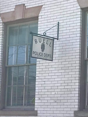 """New signs for the fictional Buell, Pa., hang from the former police station of Ambridge.  new jeff daniels series """"American war"""" Will film there on March 31."""