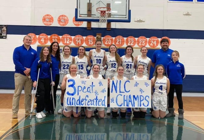 The Mackinaw City girls basketball team won a third consecutive Northern Lakes Conference title with a victory over Ellsworth in its regular season finale in Mackinaw City on Saturday.