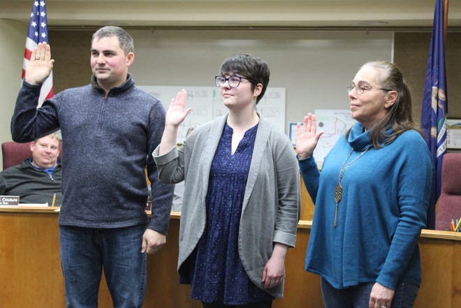 Brett Mallory (left) and Sara Johnston (middle) took their first oath of office and Betty Kwiatkowski took her second oath of office as Cheboygan City Council members in December of 2018. Mallory was named mayor pro tem in a special meeting March 15, 2021.