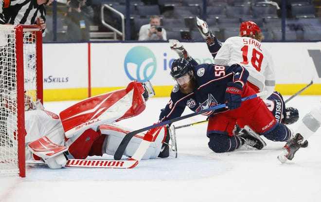 Blue Jackets defenseman David Savard is a beefy presence who does yeoman's work in front of his team's net, but the 10-year veteran has played 101 regular-season games since his last goal.