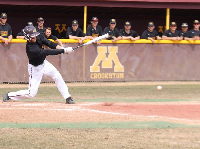 Mason Ruhlman during a game in 2019. Ruhlman went 3-for-5 with a home run and four RBIs in Minnesota Crookston's 14-9 win over Winona State Sunday.
