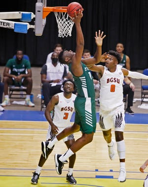 Stetson's Mahamadou Diawara goes up for a basket in the Hatters' win Monday over Bowling Green at the Ocean Center in Daytona Beach.