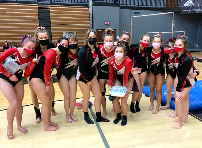 The Coldwater Lady Cardinal gymnastics team finished in fourth place at the MHSAA Regional competition Saturday. 3 Gymnasts earned the right to advance to the state finals