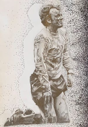 """Anthony Spadafore, a junior at Lincoln High School, received a merit award for his entry,""""Dirt,"""" in Arts and Education at the Hoyt's Lawrence County Student Art Competition."""