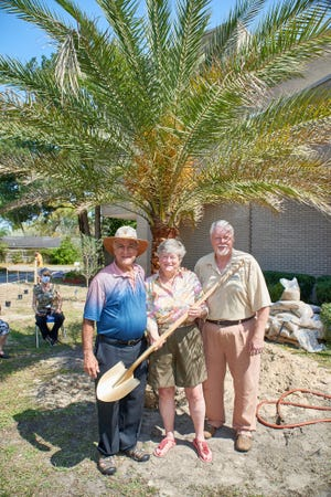 Larry Kanter (from left) and Goldie Lansky of Congregation Ahavath Chesed and the Rev. Ed Bez, director of the Biblical Botanical Gardens Society, stand in front of the date palm planted Wednesday as the centerpiece in the synagogue's biblical garden and in honor of Lansky, who recently retired as executive director of The Temple.