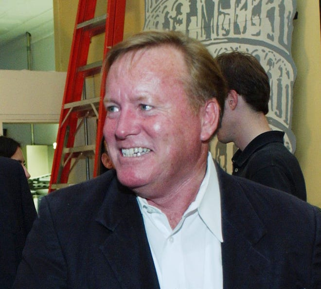 """Patrick McGuinness  greets well-wishers during a 2002 Jacksonville screening of the Oscar-winning documentary """"Murder On A Sunday Morning."""""""