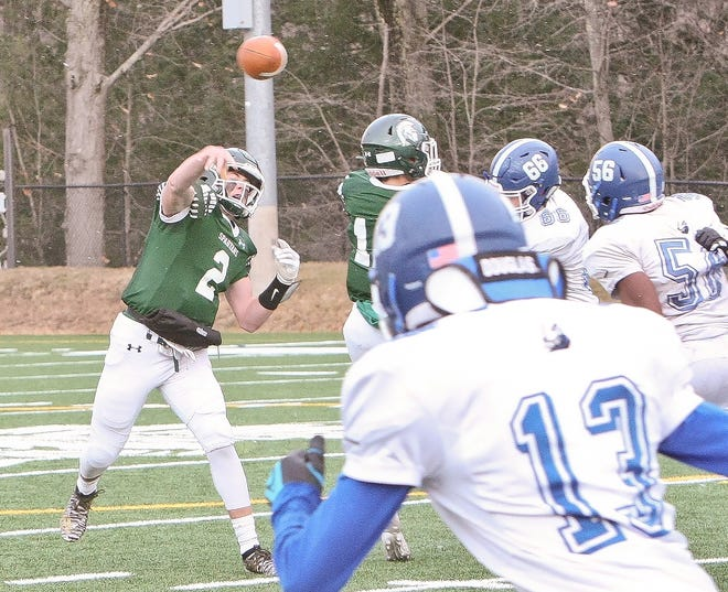 Oakmont quarterback Colton Bosselait (2) throws a pass during the Spartans' 2019 Thanksgiving Day game against Lunenburg. Bosselait, who rushed and passed for more than 1,000 yards in 2019, returns for his fourth season as the Spartans' starting signal-caller.