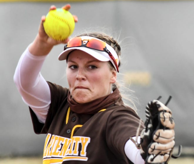 Garden City Community College's Tara Reid winds up to make a pitch to a Dawson batter on Thursday at Tangeman Sports Complex.  GCCC grabbed a pair of home victories on Saturday over Hutchinson.