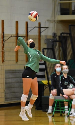 Senior Maggi Weller led the GHS girls' volleyball team in aces and digs in their win against Galesburg on Saturday, March 20, at Galesburg.
