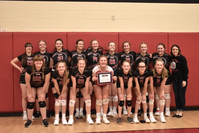 The eighth grade Chargers won the 3A sectional championship on Friday, March 19, over the Chillicothe Mustangs at Orion Middle School. Orion won 25-17, 19-25, 25-13. In front from left are Katie Handley, Avery Marner, Violet Fiers, Kennedy DeBaillie, Kallie DeBaillie, Aubrey Sandberg and Jocelyn Marner, and in back, Katie Angelos, Valerie Hickerson, Svea Carlson, Maddyson Mrazek, Madison Reid, Avery Knupp, Lainey Kunert, Claire Weber, Macy Mizlo and coach Sydney Adams.