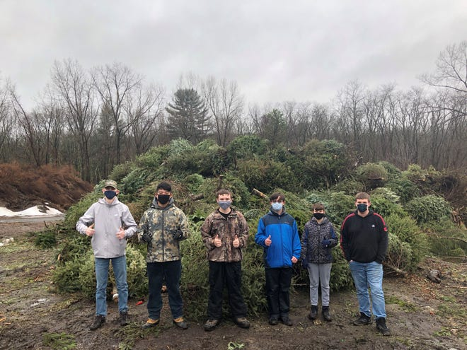 Members of BSA Troop 106 stand in front of some of the Christmas trees collected in January.