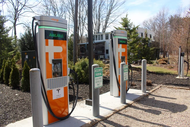 Newly installed ChargePoint EV Fast Charging Stations at Roan and Black are pictured at 3315 Blue Star Highwayin Saugatuck, Mich. on Monday, March 22.
