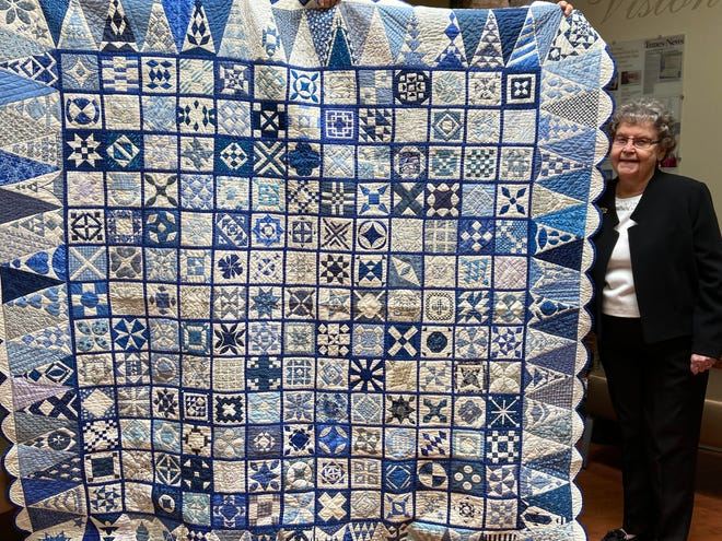 Frances Reese, a charter member of the Abraham Kuykendall Daughters of the American Revolution, has been awarded second place in the American Heritage Committee Contest for her quilt, Dear Jane in Blue.
