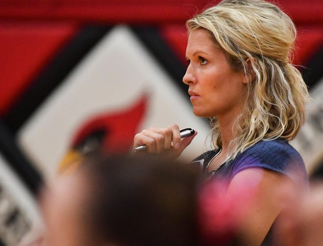 Metamora volleyball coach Tara Ballard looks on during a 2019 match.