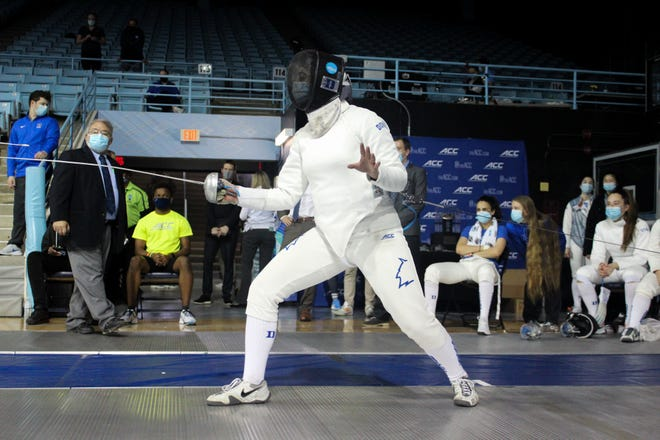 Dunlap High graduate Huda Aldadah of Peoria competes at the ACC fencing championships last month in North Carolina.