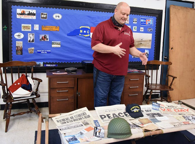 Chadwick Stokes is surrounded by history in the new History Lab he and colleagues are creating at E.B. Frink Middle School. His passion for making history interactive for his students has put Stokes in the running for two awards that honor the nation's best history teacher.