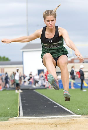 Junior Lauren Tincher's versatility will provide the Greenmen with ample point opportunities in the sprints, sprint relays and the long jump.