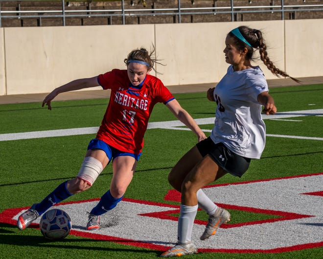 Heritage sophomore Kerry Scott (17) dribbles during a home match earlier this year. The Jaguars clinched the District 8-4A championship with three home wins in the district tournament at MISD Multipurpose Stadium. They will open the playoffs Friday night in Kennedale against Fort Worth Diamond Hill-Jarvis.