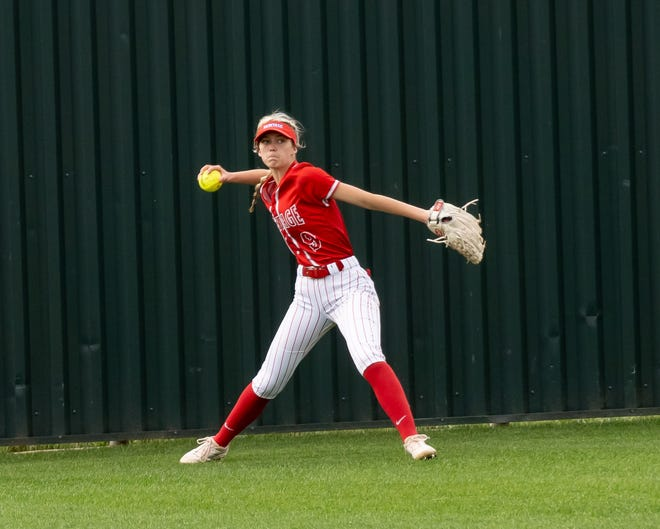 Heritage outfielder Lacey Harrison throws the ball back in during a recent home game. The Jaguars improved to 2-0 in district play and split a pair of non-district games last weekend.