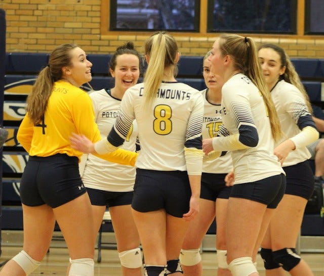 Potomac State's six participants on the floor are shown celebrating a point in recent action.