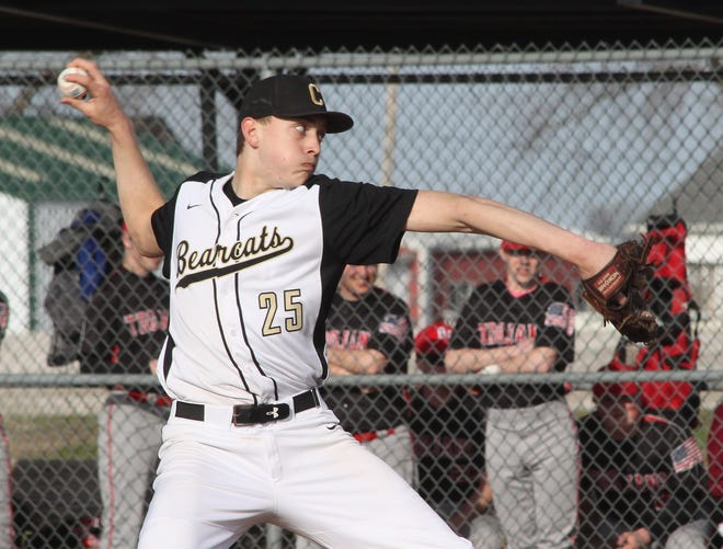 Northeast R-IV School at Cairo junior Gage Wilson pitched a 1-hitter Saturday and threw only 43 pitches in leading the Bearcats to a solid 16-1 home baseball victory in three innings  against Westran of Huntsville in the 2021 season opener for both schools. With COVID-19 pandemic canceling the 2020 spring sports season, Wilson is shown above pitching a home game in April of 2019.