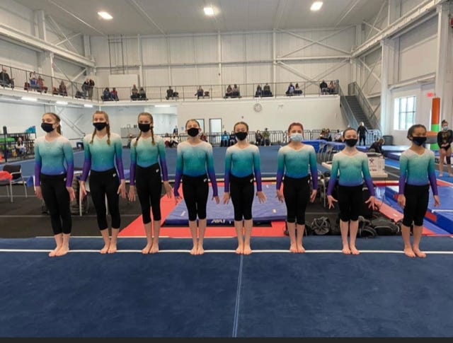 Competing on the Silver/Gold team for Eagle Gymnastics were, left to right: Emilia Bolster, Melanie Bogart, Emma Spiehler, Vanessa L, Sinead Halloran, Elena Green, Josie Lamb and Darylynn Mungkhalodom.
