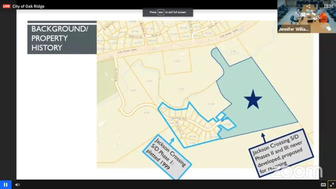This map shows the site of the future business, marked with a star and the adjacent Jackson Crossing neighborhood.