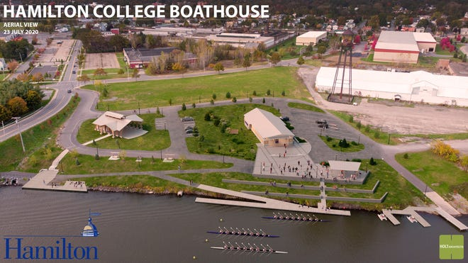 A rendition of an aerial view of the proposed Hamilton College boathouse on the Erie Canal in Rome.