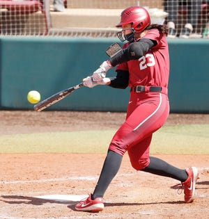 Oklahoma's Tiare Jennings had the game-winning hit in a 2-1 victory over Team Mexico on Saturday. [Ty Russell/OU Athletics]