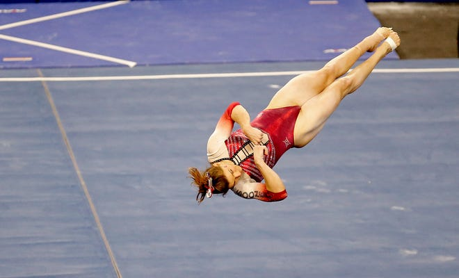 OU's Anastasia Webb performs in the floor exercise earlier this season. Webb has been a constant for the Sooners this season, competing in the all-around in every meet. Webb anchors the top-ranked Sooners as they look to win a second consecutive national title this weekend in Fort Worth, Texas.