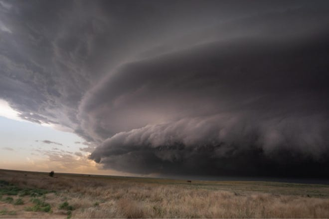 A supercell storm in Satanta, Kansas was captured on camera by Zachary Hall, a storm chaser from Greenwood who manages a Facebook page where he updates and compiles data on storms in the area.