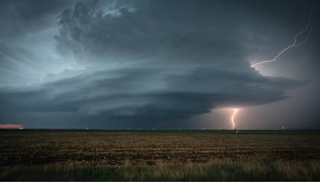 Lightning striking on the edge of a super cell storm in southwest Kansas