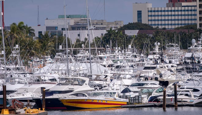 The West Palm Beach waterfront is packed with luxury yachts for the 2021 Palm Beach International Boat Show, which closes today.