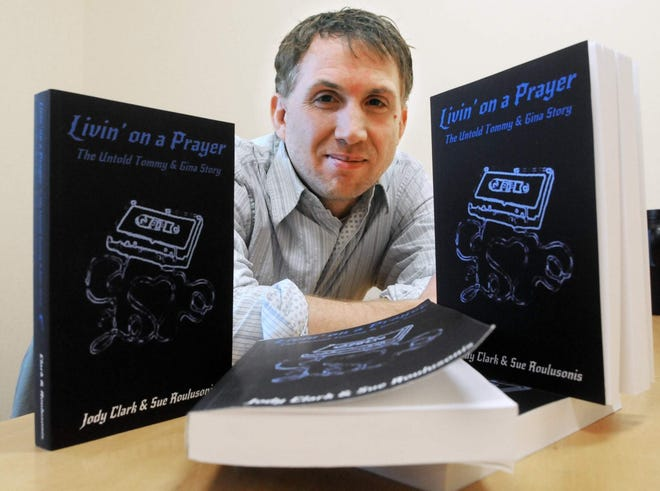 """York author Jody Clark, pictured here in 2016 with copies of his and Sue Roulusonis' book """"Livin' on a Prayer,"""" has agreed to donate half of his signed book sales in March 2021 to the local chapter of Dream Factory."""