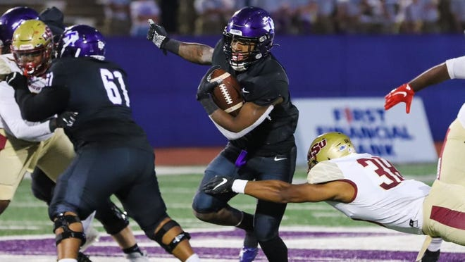 The Texans' Khalil Banks put Tarleton up 13-0 on a 9-yard rush in the first quarter of Saturday's Homecoming game against Midwestern State. Banks ran for a season-high 135 yards on 21 carries, his second career 100-yard rushing game.