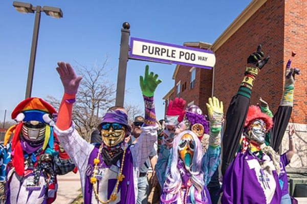 Tarleton State University's Purple Poo celebrated its 100th anniversary during Homecoming week. On Saturday, following the parade, Purple Poo Way was designated. The newly designated pedestrian mall  runs east-west in front of the Thompson Student Center and in front of Centennial Hall and Legacy Hall to Rome Street on the Stephenville campus.