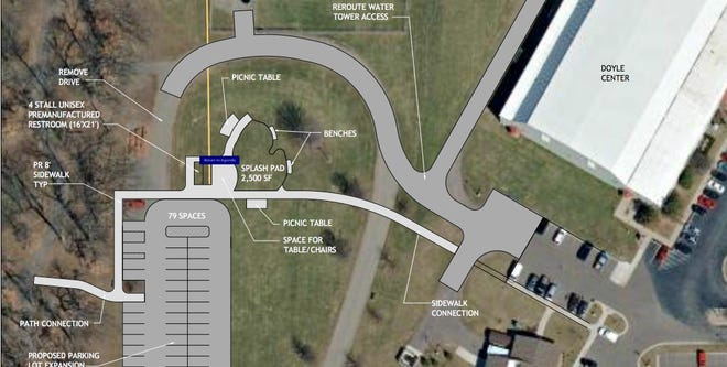 This overlay plan shows preliminary ideas for installing a splash pad at Thurston Woods Park.