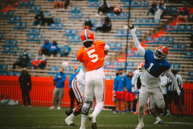 Florida quarterback Emory Jones lets one fly during Saturday's scrimmage at Ben Hill Griffin Stadium.