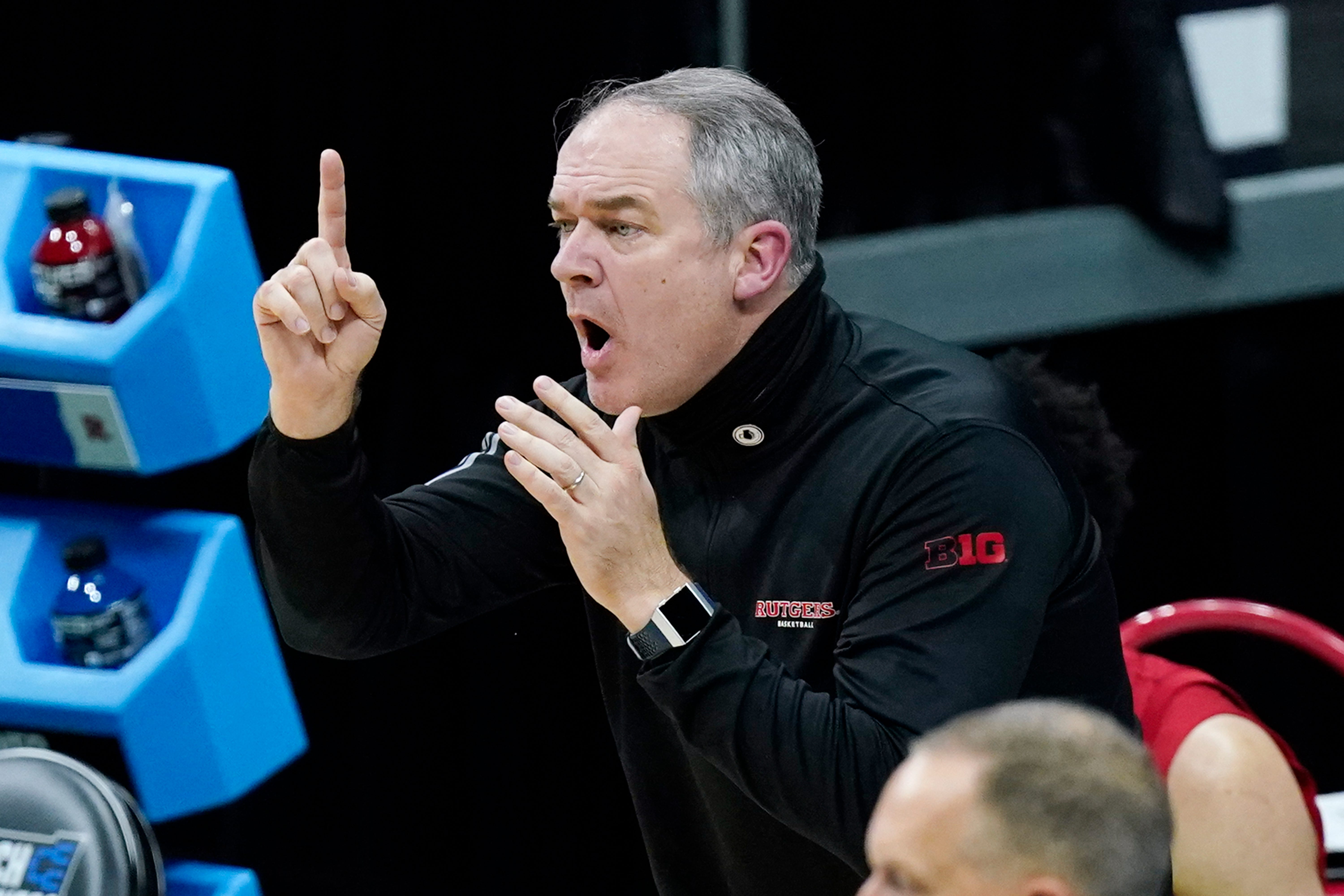 Rutgers men's basketball coach Steve Pikiell yells to his players during a game against Houston in the second round of the NCAA tournament in March.