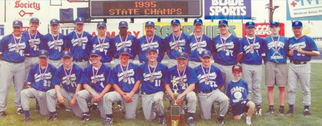 The Summit baseball team won the 1995 Division IV state championship, the first state title in school history.  First row, from left:  A.J. Cohen, Adam Keslosky, John O'Brien, Jeff Eversman, Mike Daly, Mike Tudor, Todd Schueler and Colin Stayton. Second row, from left: Asst. Coach Joe Molony, Justin Sanders, Brian Tolleson, Dustin Cohen, Mike Keslosky, Mike Norman, Head Coach Jeff Stayton, Andy Nichols, Patrick Meyer, Sean Daly, John Domaschko, Statistician Mike Flax, Asst. Coach Kim Cohen.
