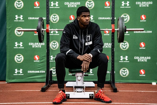 Colorado State football receiver Warren Jackson sits on a weight bench during his pro-day workouts for NFL scouts Monday, March 22, 2021, at CSU's Indoor Practice Facility in Fort Collins, Colo.