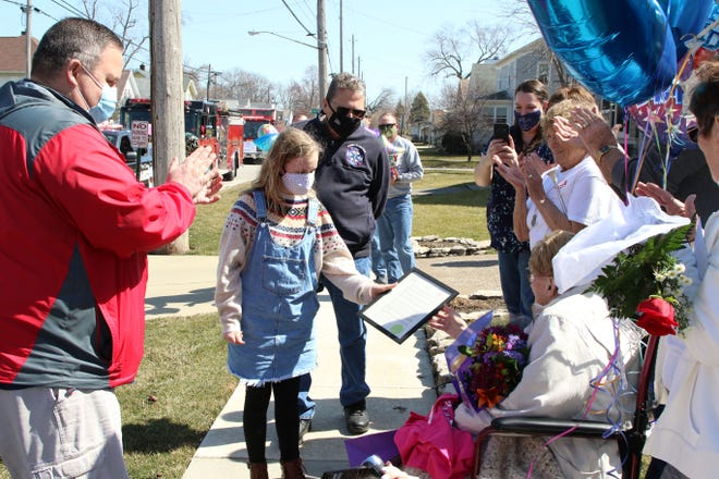 """A proclamation was presented to Betty Bachtel, declaring March 20, 2021 as """"Betty Bachtel Day"""" in Port Clinton."""