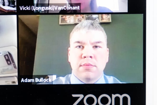 Adam Bullock appears via Zoom during a continuation of his exam hearing Monday, March 22, 2021. Bullock is facing multiple charges related to a crash that allegedly killed Mary Anna Longuski, a pedestrian, in October in Peck.