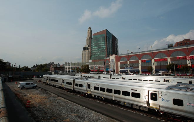 In a file image, an MTA train is parked in a New York rail yard in Brooklyn. With an influx of federal rescue money, the Metropolitan Transit Authority can now restart shelved construction projects. (Chris Hondros/Getty Images/TNS)
