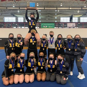 The Red Lion co-ed spirit team recently won another District 3 title. In the front row, from left, are: Kylie Lingafelt, Dani-Leigh Graham, Emma Mader, Giselle Jones, Maddie Frey and Kaylen Beall. In the back row, from left, are: Lydia Tyson, Nicole Gunter, Margaux Rentzel (holding the trophy), Conner Holmes, Rachel Emlet, Dalton Channell, Emily Padre, Mary Dyal and Sierra Ellis.