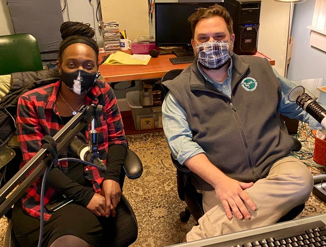 From left to right: The Arrow Project Executive Director Sabrina Burress and Staunton Downtown Development Association Director Greg Beam during the SDDA's newest radio podcast program called Staunton Stories, which airs every two weeks.