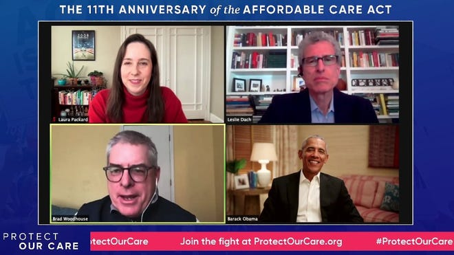 Former President Barack Obama with health care advocates Laura Packard, Leslie Dach and Brad Woodhouse at an online Affordable Care Act birthday event on March 22, 2021.