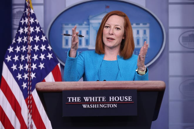 White House press secretary Jen Psaki talks to reporters during her daily news conference in the Brady Press Briefing room at the White House on Monday.