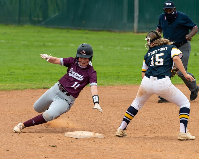 Cassie Kurz steals second for Round Rock as Stony Point's Korina Kalbus waits for the ball and the tag. Round Rock, which won a district softball game 5-1 over Stony Point at home on March 1, enters this week tied for first place in District 25-6A.